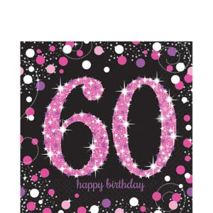 60th Birthday Lunch Napkins 16ct - Pink Sparkling Celebration