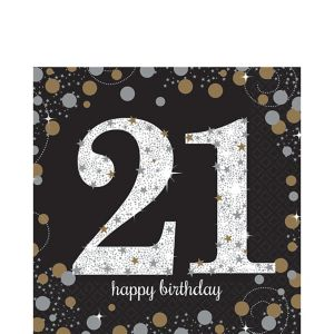 21st Birthday Lunch Napkins 16ct - Sparkling Celebration