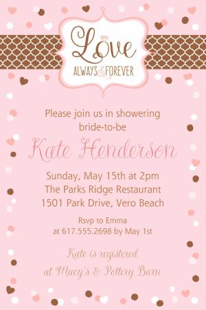 Custom Pink & Brown Wedding Invitation