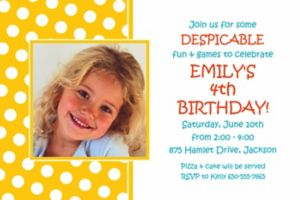Custom Yellow Birthday Photo Invitation
