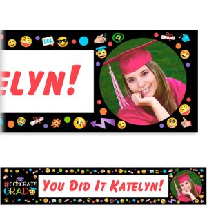 Custom Smiley Graduation Photo Banner