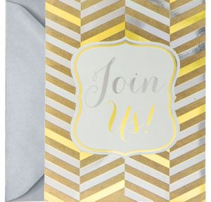 Metallic Gold & Silver Herringbone Invitations 8ct