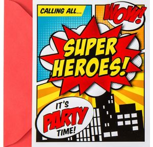 Metallic Comic Book Superhero Invitations 8ct