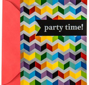 Metallic Rainbow Chevron Invitations 8ct