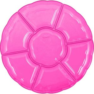 Bright Pink Plastic Scalloped Sectional Platter