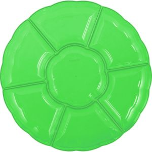 Kiwi Green Plastic Scalloped Sectional Platter