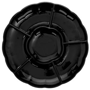 Black Plastic Scalloped Sectional Platter