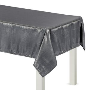 Metallic Silver Fabric Tablecloth