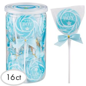 Caribbean Blue It's a Boy Swirly Lollipops 16ct