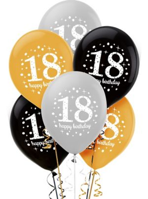18th Birthday Balloons 6ct - Sparkling Celebration