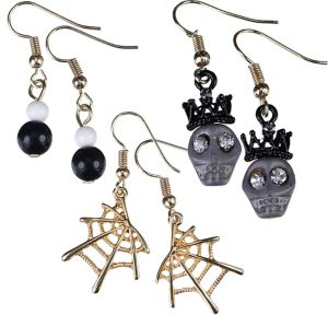 Skulls & Spider Webs Halloween Earrings Set 6pc