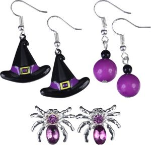 Purple Spider & Witch Hat Halloween Earrings Set 6pc