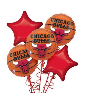 Chicago Bulls Balloon Bouquet 5pc - Basketball