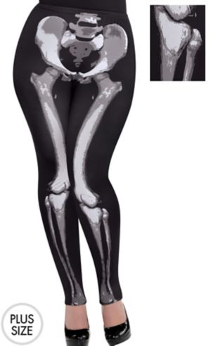 Skeleton Leggings Plus Size - Black & Bone