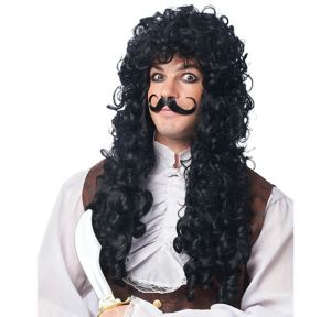 Captain Hook Wig & Moustache Set 2pc