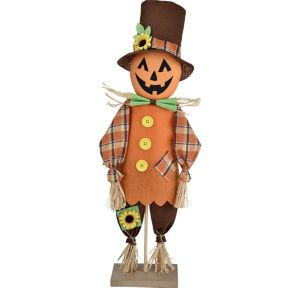Friendly Standing Scarecrow Pumpkin Decoration