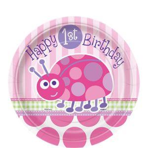 Pink Ladybug 1st Birthday Dessert Plates 8ct