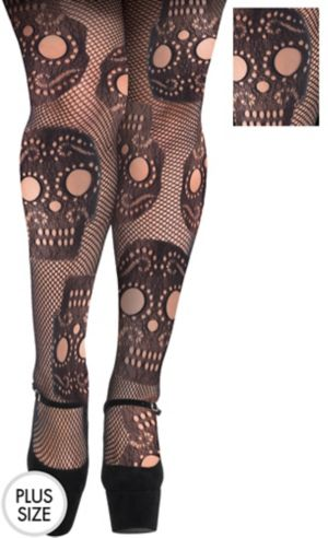 Sugar Skull Fishnet Pantyhose Plus Size