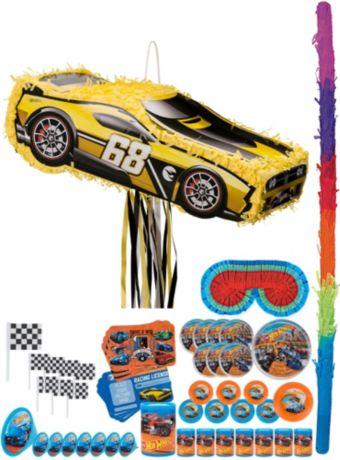 Yellow Race Car Pinata Kit with Favors - Hot Wheels