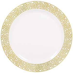 White Gold Lace Border Premium Plastic Dinner Plates 10ct