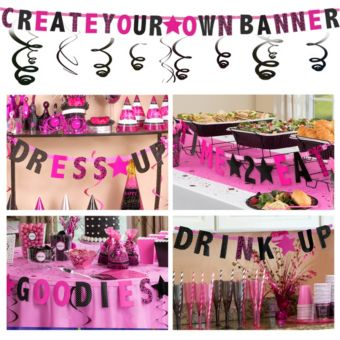 Black & Pink Create Your Own Banner Kit