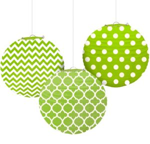 Kiwi Green Patterned Paper Lanterns 3ct