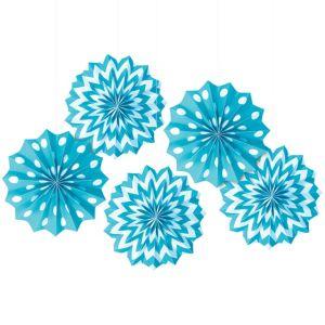 Caribbean Blue Polka Dot & Chevron Mini Paper Fan Decorations 5ct