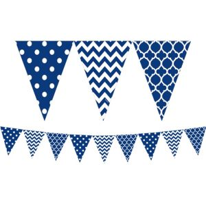 Royal Blue Patterned Pennant Banner