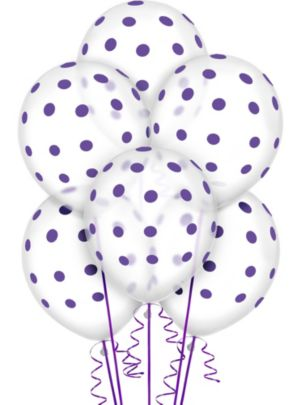 Transparent & Purple Polka Dot Balloons 20ct