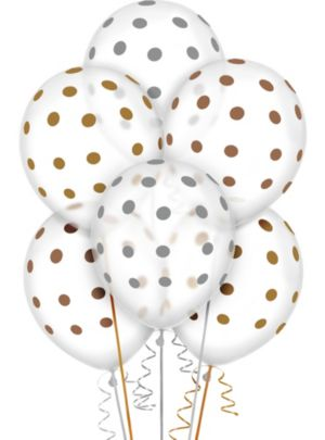 Transparent & Metallic Polka Dot Balloons 20ct