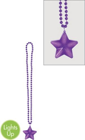 Light-Up Purple Star Pendant Bead Necklace