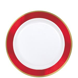 Gold & Red Border Premium Plastic Lunch Plates 10ct
