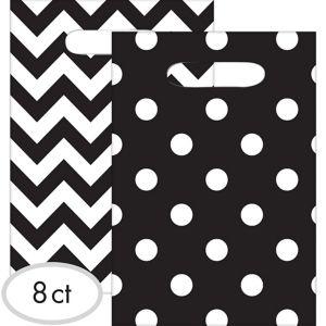 Black Polka Dot & Chevron Favor Bags 8ct