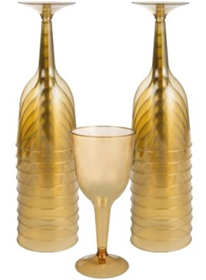 Big Party Pack Gold Plastic Wine Glasses 20ct Party City