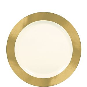 Cream Gold Border Premium Plastic Lunch Plates 10ct
