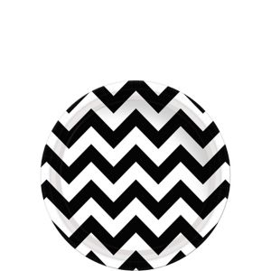 Black & White Chevron Paper Dessert Plates 8ct