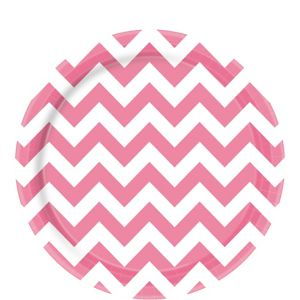 Bright Pink Chevron Paper Lunch Plates 8ct