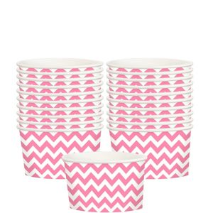 Bright Pink Chevron Paper Treat Cups 20ct
