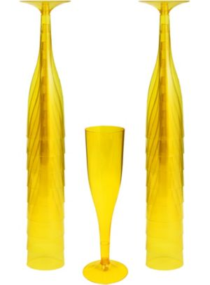 Big Party Pack Sunshine Yellow Plastic Champagne Flutes 20ct