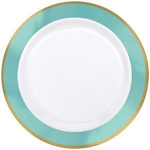 Gold & Robin's Egg Blue Border Premium Plastic Dinner Plates 10ct