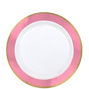 Gold & Pink Border Premium Plastic Lunch Plates 10ct