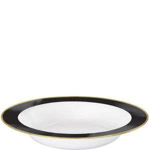 Gold & Black Border Premium Plastic Bowls 10ct