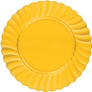 Sunshine Yellow Premium Plastic Scalloped Dinner Plates 12ct