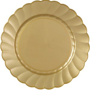 Gold Premium Plastic Scalloped Dinner Plates 12ct