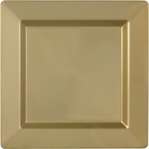 Gold Premium Plastic Square Dinner Plates 10ct