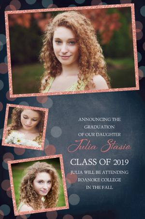 Custom Glitter Salmon Frames and Dots Graduation Photo Announcement