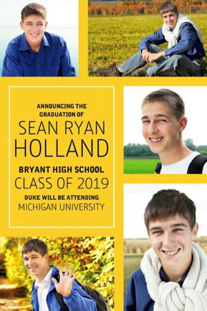Custom Classic Yellow Collage Graduation Photo Announcement
