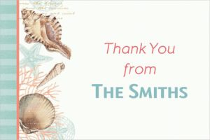 Custom By the Sea Seashell Thank You Note