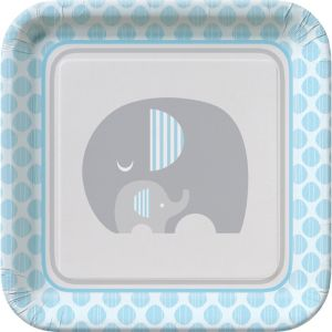 Blue Baby Elephant Lunch Plates 8ct