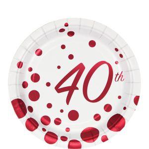 Ruby Dots 40th Anniversary Dessert Plates 8ct